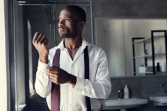 thoughtful young businessman in white shirt buttoning cufflinks royalty free stock image