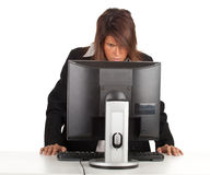 Thoughtful young businesswoman with computer Royalty Free Stock Photos
