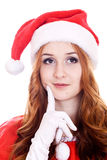 Thoughtful young Christmas woman Stock Photo