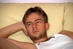Thoughtful young man royalty free stock photography