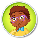 Thoughtful young smart african american student boy.. Young smart african american student boy in glasses thinking. Cartoon vector illustration  on white Royalty Free Stock Photos