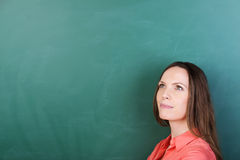 Thoughtful young teacher at the blackboard Royalty Free Stock Images