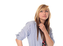 Thoughtful young teenage girl Royalty Free Stock Photography