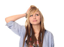 Thoughtful young teenage girl Royalty Free Stock Photos