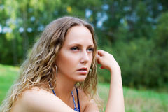 Thoughtful young woman. Royalty Free Stock Photos