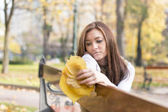 Thoughtful young woman with autumn leaves on bench in the park. Stock Images