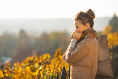 Thoughtful young woman in autumn outdoors Stock Image