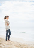Thoughtful young woman standing on cold beach Stock Photos