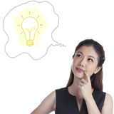 Thoughtful young Woman Thinking a big idea Royalty Free Stock Photography