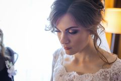 Thoughtfull bride looking for groom Stock Images