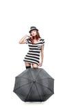 Thoughtfull stylish girl in black and white dress Stock Photo