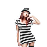 Thoughtfull stylish girl in black and white dress Royalty Free Stock Image