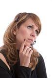 Thoughtfull Telefonbediener Lizenzfreies Stockbild