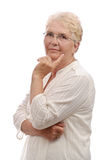 Thoughtfully senior woman portrait Stock Photos
