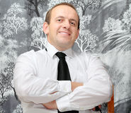 Thoughtfulness at work. Man sitting in shirt thinking Stock Image