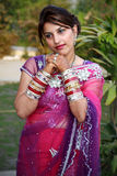 In thoughts. Indian newly wedded girl thinking deeply stock images
