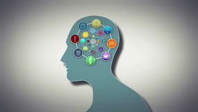 Thoughts appearing in brain with cog. Digital animation of Thoughts appearing in brain with cog stock illustration