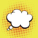 Thoughts Bubble in Pop Art Comics Style. Yellow Orange Color Vector Template Stock Photography