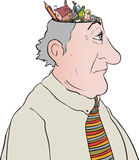 Thoughts. Cartoon mans head with depiction of thoughts coming out Stock Photo