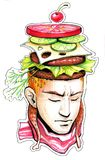 Thoughts about food. In a man`s head royalty free illustration