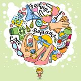 Thoughts of a girl in doodles. The image of the girl or woman and her thoughts in the form of a circle drawn by the outline. Color illustration for design or Royalty Free Stock Images