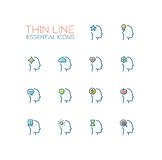 Thoughts in Heads - Thin Single Line Icons Set Royalty Free Stock Images
