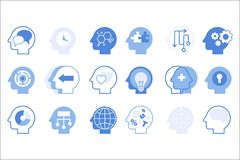 Thoughts inside head big set, creative human mind vector illustration. On a white background vector illustration