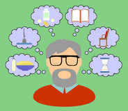 Thoughts old man. Thoughts and interests of an elderly man Stock Illustration