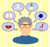Thoughts old woman. Thoughts and interests of an elderly woman Vector Illustration