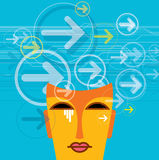 Thoughts and options.  illustration of head with arrows Stock Photo