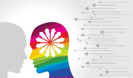 Thoughts and options. vector illustration of head with arrows Stock Images