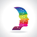Thoughts and options. vector illustration of head with arrows stock illustration