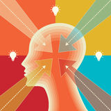 Thoughts and options. vector illustration of head with arrows Royalty Free Stock Photo