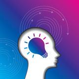 Thoughts and options. vector illustration of head with arrows Royalty Free Stock Photography
