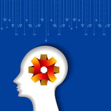 Thoughts and options. vector illustration of head with arrows Royalty Free Stock Images