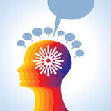 Thoughts and options. vector illustration of head with arrows Stock Photo