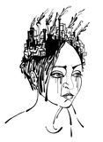 Thoughts. Painting of women grief and sadness Stock Photography