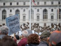 Thoughts and prayers strikethrough banner at March for Our Lives Royalty Free Stock Photo