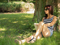 Thoughts. Summer and romantic thoughts in the park Royalty Free Stock Photos