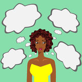 Thoughts. A woman thinking about something royalty free illustration