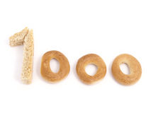 Thousand. Figure 1000 which has been laid out from bakery products Stock Photography
