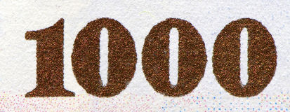 Thousand. One thousand on bill close up Royalty Free Stock Image