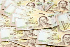 Thousand bill of Thai currency, spread of one thousand bill. Release year 2015. Stock Photos