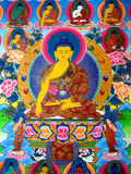Thousand buddhas. Picture of thousand budhhas painting on silk Royalty Free Stock Photography