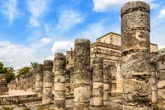 Thousand columns mayan temple complex, Chichen Itza archaeologic. Al site, Yucatan, Mexico Stock Photos