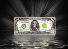 Thousand dollar bill. A thousand dollar bill with light beams and rippled water Royalty Free Stock Image