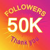 50 thousand followers illustration with thank you Royalty Free Stock Photography