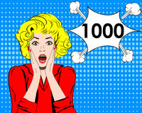 Thousand followers online social media achievement. Surprised girl. pop art style.  Stock Image