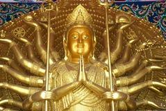 Thousand Hands Kuan Yin Buddha In Thai Temple . Stock Photo