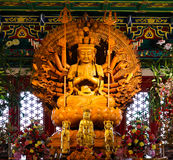Thousand hands wooden Buddha in Chinese temple Stock Photography